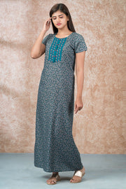 All Over Abstract Floral Printed And Embroidered Nighty - Green