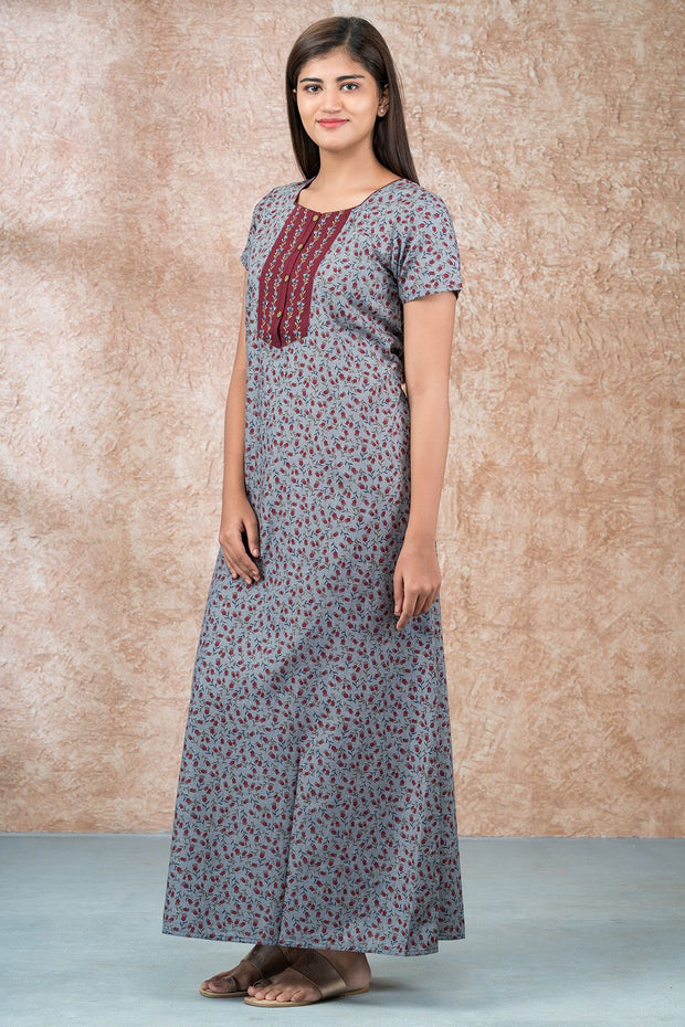All Over Abstract Floral Printed And Embroidered Nighty - Grye & Maroon