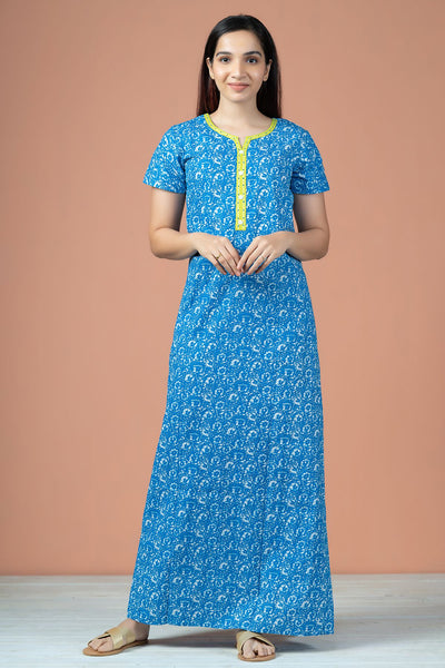 All Over Batik Printed Nighty Wear - Blue