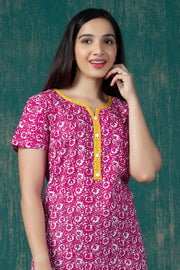 All Over Batik Printed Nighty Wear - Pink