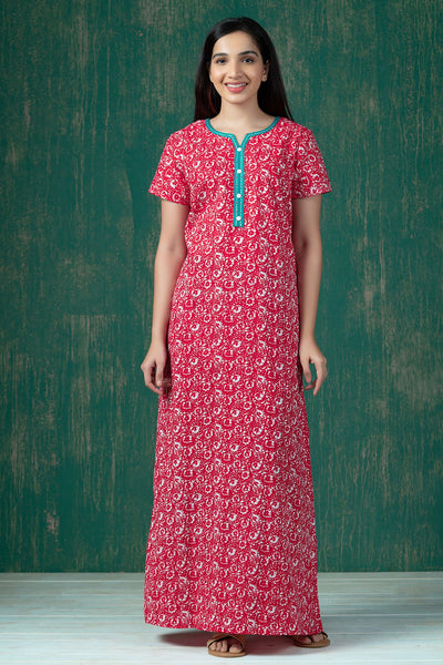 All Over Batik Printed Nighty Wear - Red