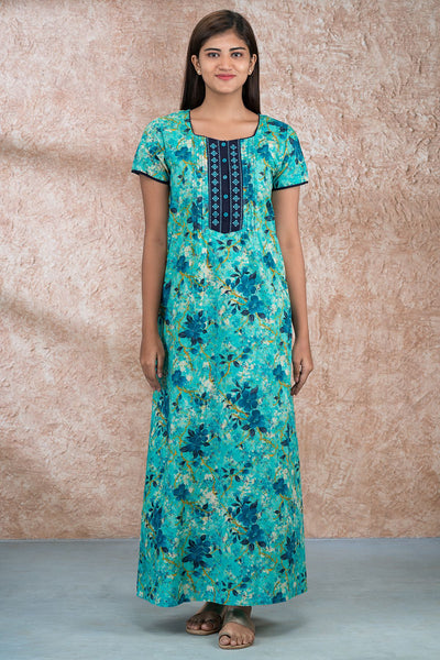 All over impressionist floral printed and embroidered nighty - Green