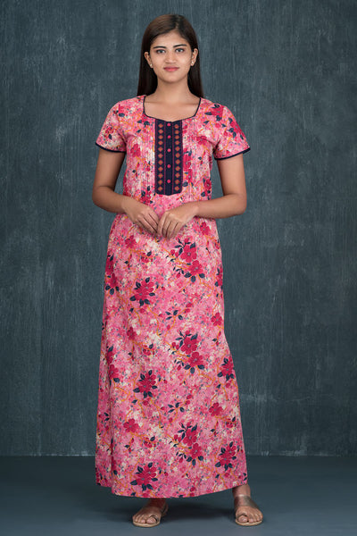 All over impressionist floral printed and embroidered nighty - Pink