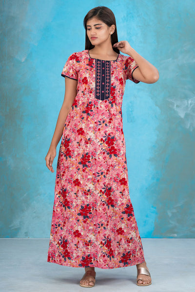 All over impressionist floral printed and embroidered nighty - Red