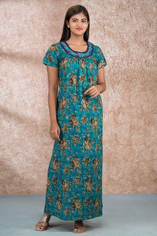 Vintage Floral Printed Nighty - Green