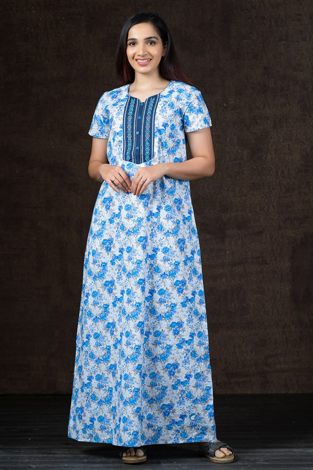 All Over  Cluster Floral Printed Nighty Wear - Blue