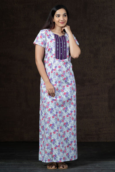 All Over Cluster Floral Printed Nighty Wear - Purple