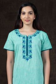 Floral Embroidery with Slub Cotton Nighty Wear - Green