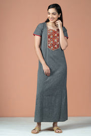 Floral Kalamkari Print With Stripes Cotton Nighty Wear - Grey