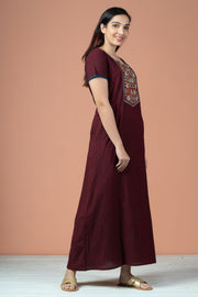 Floral Kalamkari With Stripes Cotton Nighty Wear - Maroon