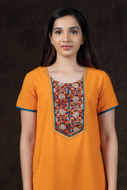 Floral Kalamkari Print With Stripes Cotton Nighty Wear - Yellow