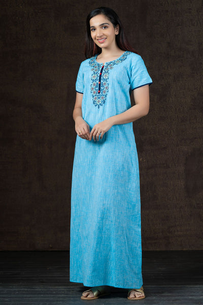 Elegant Floral Embroidered with Solid Nighty Wear - Blue