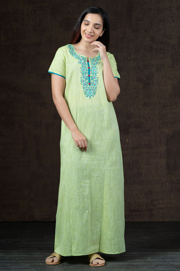 Elegant Floral Embroidered with Solid Nighty Wear - Green