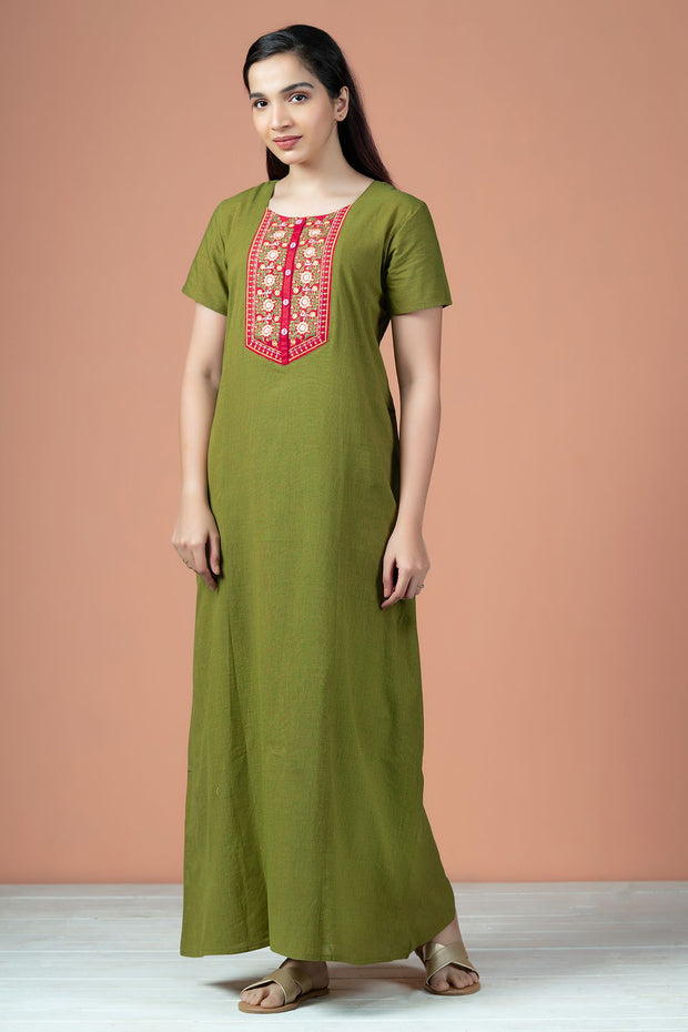 Botanical Floral Embroidered With Double Tone Cotton Nighty Wear - Green