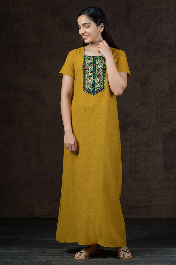 Botanical Floral Embroidered With Double Tone Cotton Nighty Wear - Yellow
