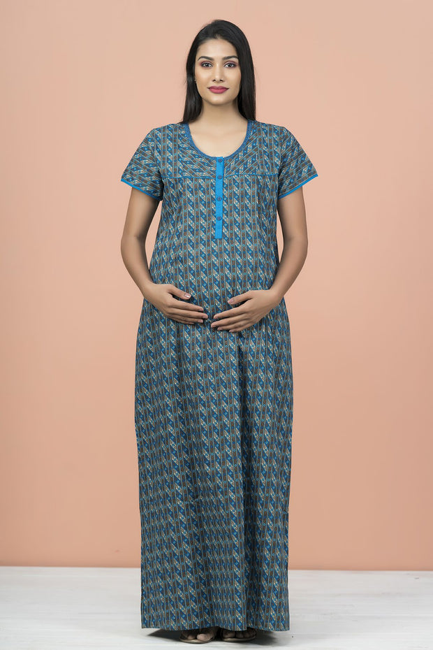 Floral Geometric Printed Maternity & Feeding Nighty Wear - Blue