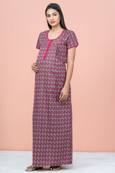 Floral Geometric Printed Maternity & Feeding Nighty Wear - Pink