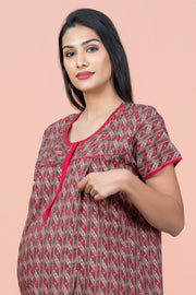 Floral Geometric Printed Maternity & Feeding Nighty Wear - Red