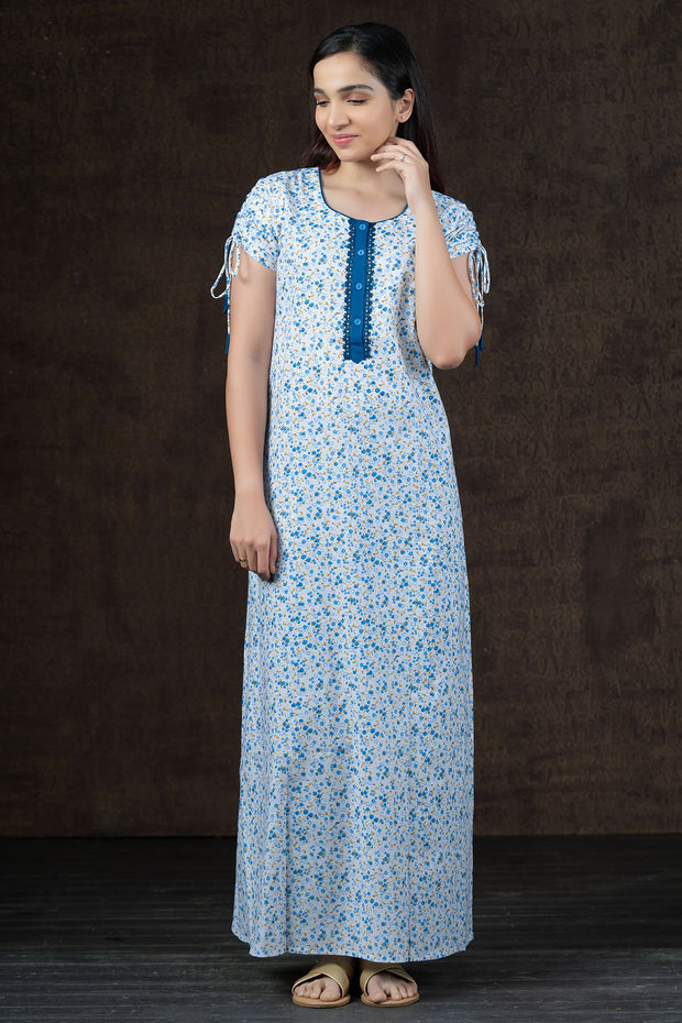 Ditsy Floral Printed Nighty Wear - Blue