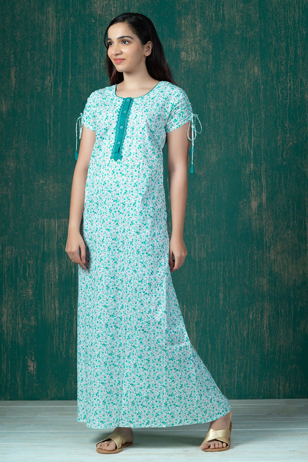 Ditsy Floral Printed Nighty Wear - Green