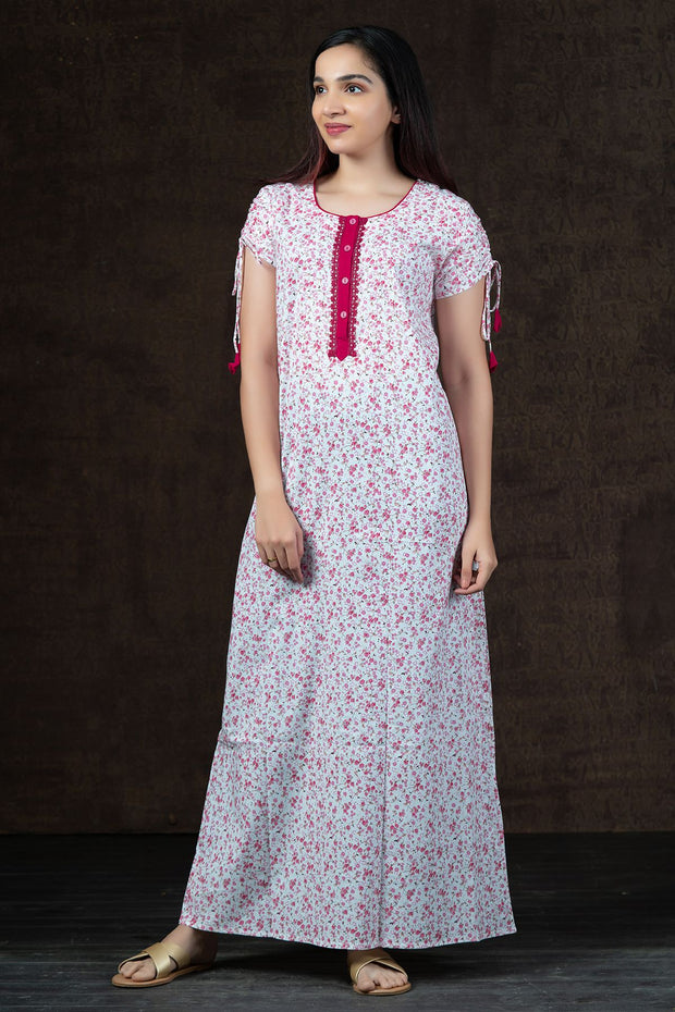 Ditsy Floral Printed Nighty Wear - Pink