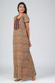 maybell-Kalamkari printed nighty - Orange