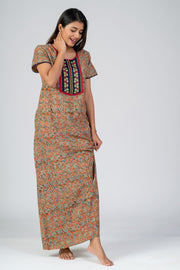 maybell-Kalamkari printed nighty - Orange2