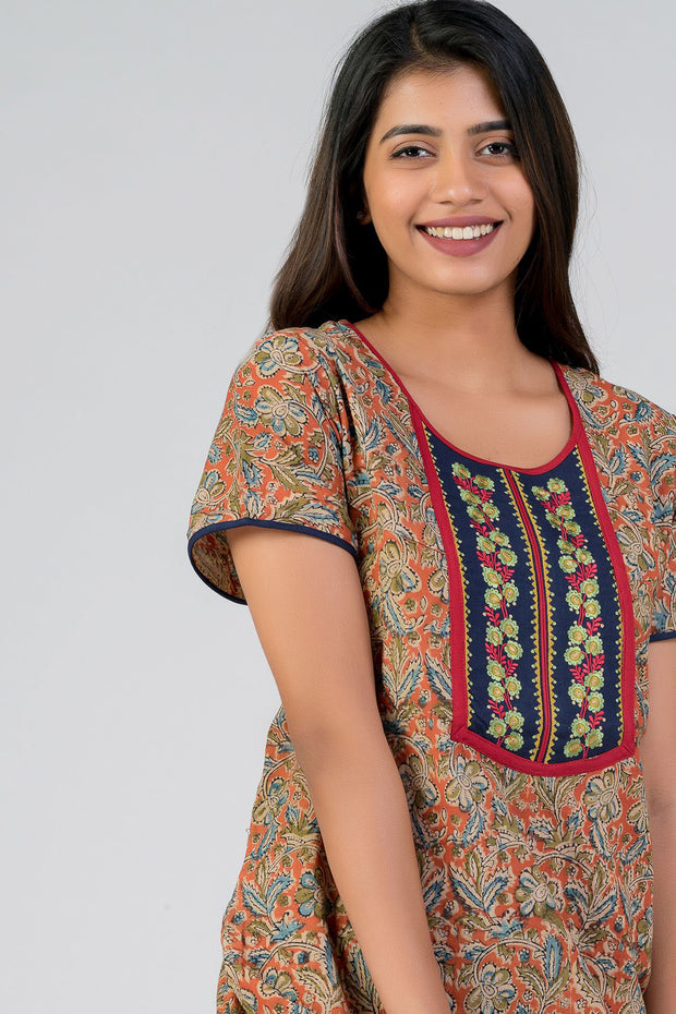 maybell-Kalamkari printed nighty - Orange1