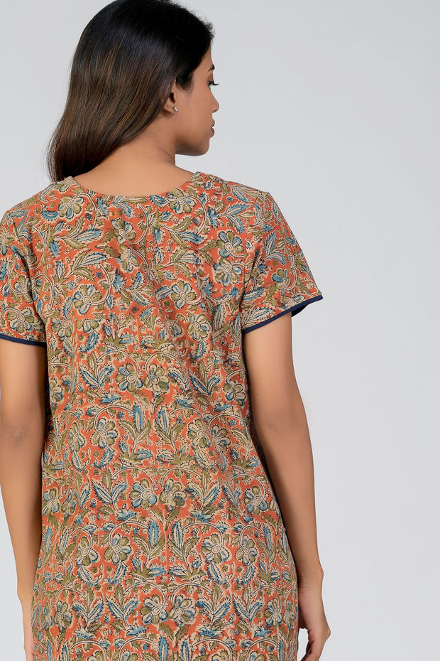 maybell-Kalamkari printed nighty - Orange5