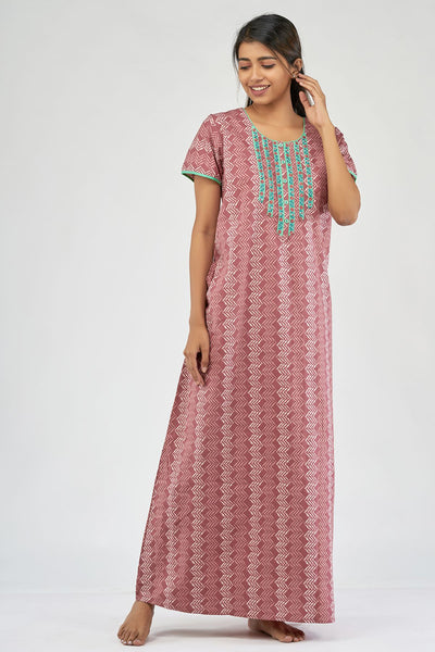 All over printed nighty - Pink