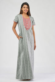 All over printed nighty - Grey