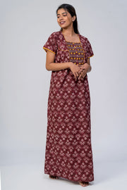 All over printed nighty - Maroon