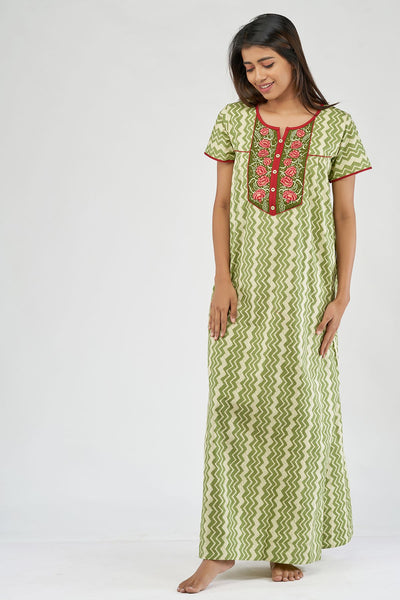 All over printed nighty - Green