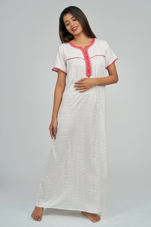 Maybell-Geometric printed nighty - Red
