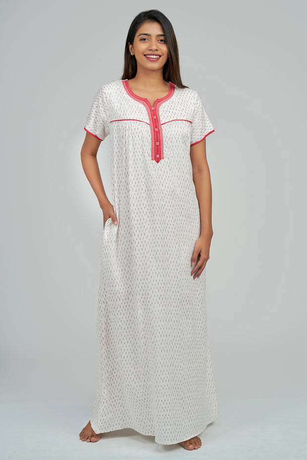 Maybell-Geometric printed nighty - Red3