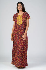 maybell-Cotton printed nighty - Maroon
