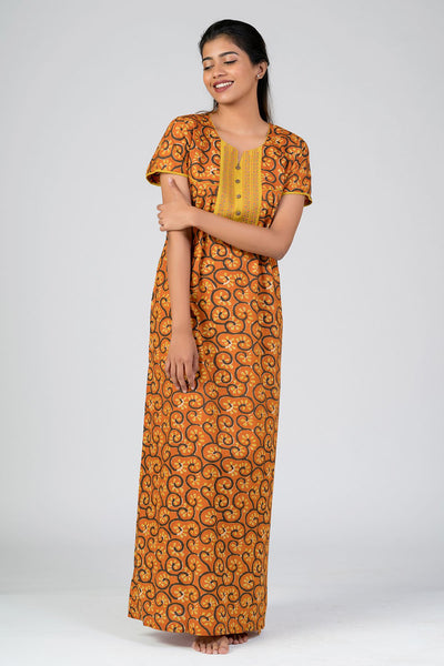 Maybell-Cotton printed nighty - Orange2