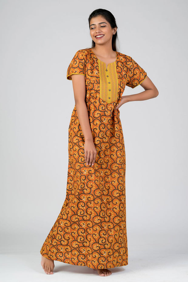 Maybell-Cotton printed nighty - Orange