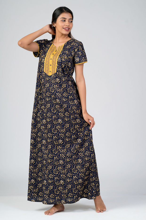 Maybell-Cotton printed nighty - Navy Blue