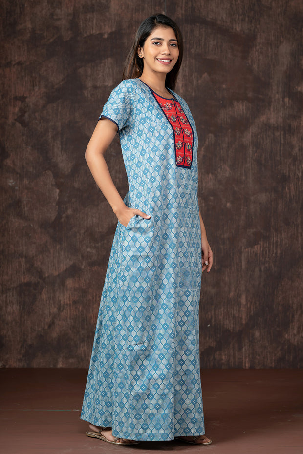 All Over Honeycomb Printed Nightwear - Blue