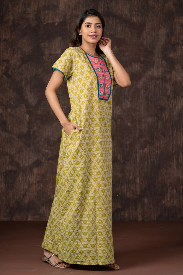 All Over Honeycomb Printed Nightwear - Mustard