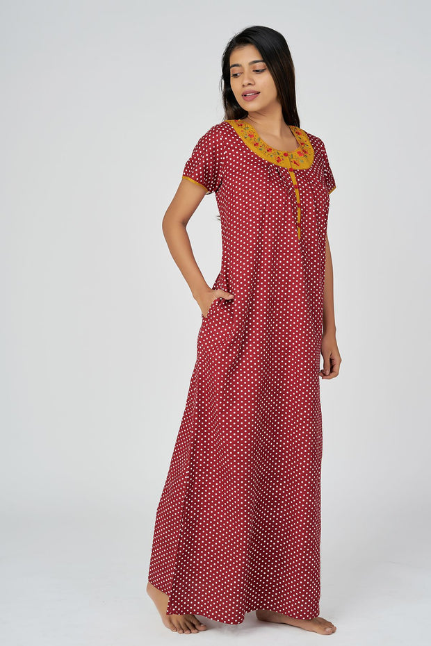 All Over Polka Dot Printed Cotton Nighty - Red
