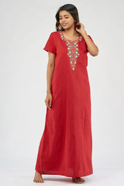 Floral center front embroidery nighty - Red