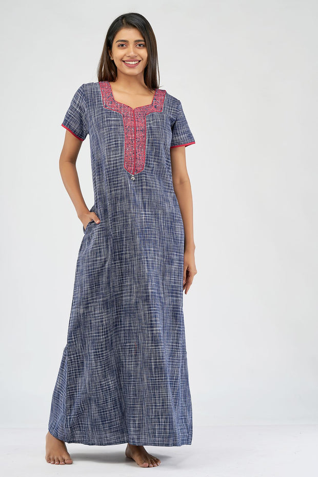 All over khadi woven nighty - Blue