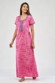 All over khadi woven nighty - Pink