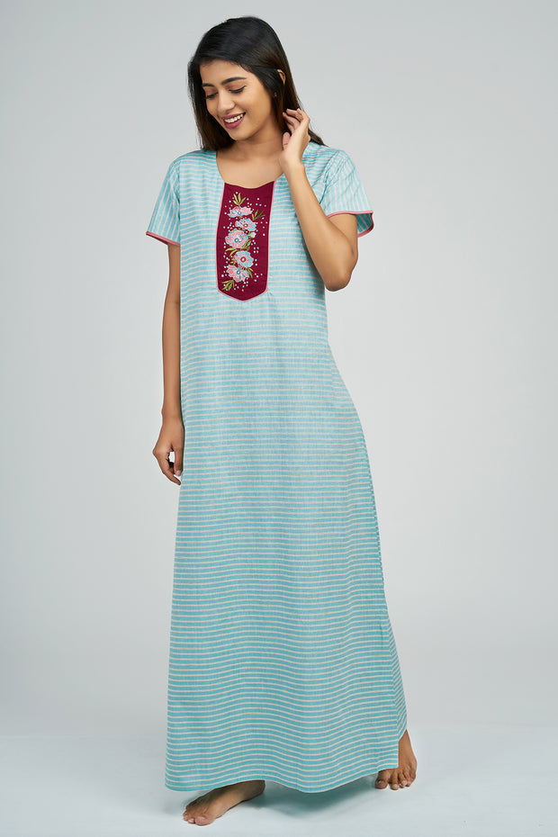 Maybell-Pin Striped Nighty - Blue2