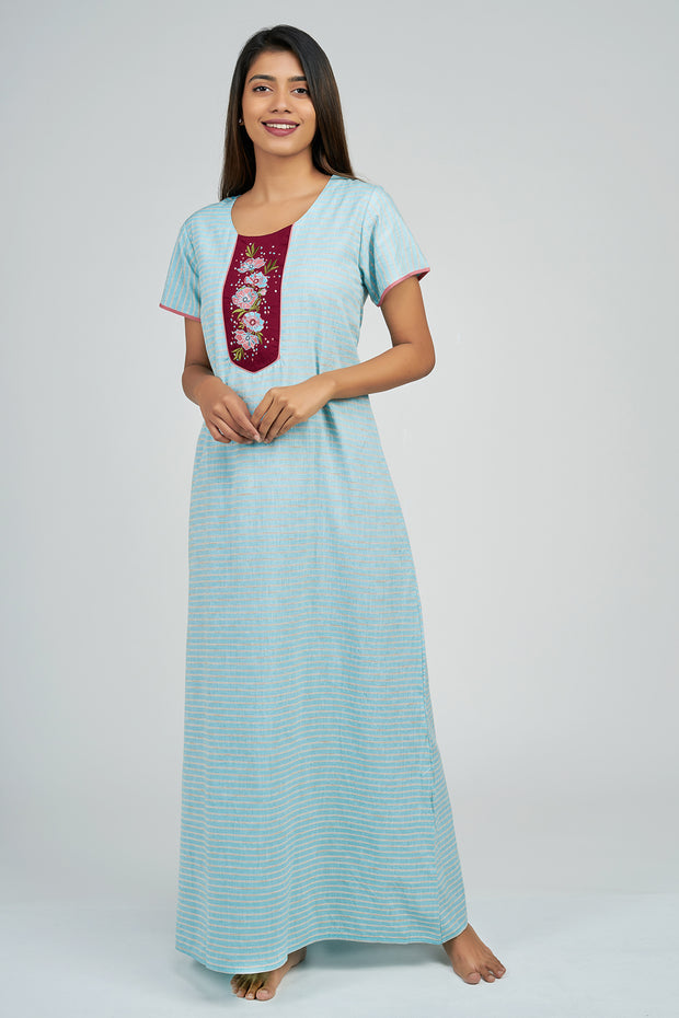 Maybell-Pin Striped Nighty - Blue3