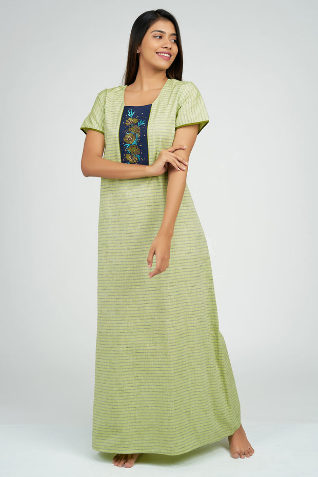 Maybell-Pin Striped Nighty - Green