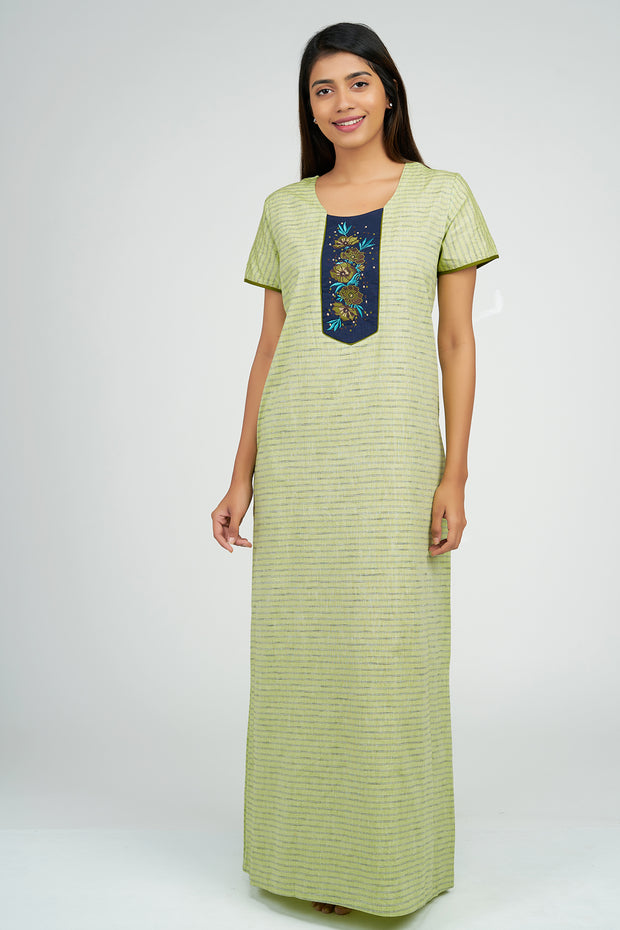 Maybell-Pin Striped Nighty - Green3