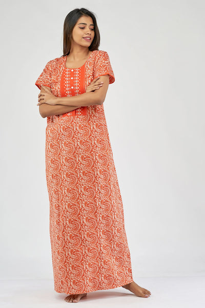 All over paisley printed nighty - Orange